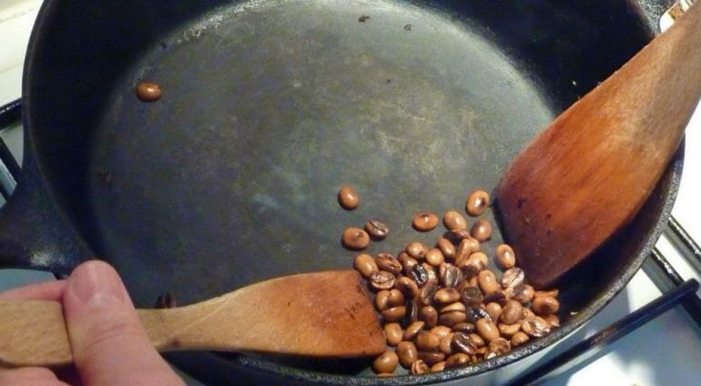 Stovetop Coffee Roasting Using an Iron Skillet