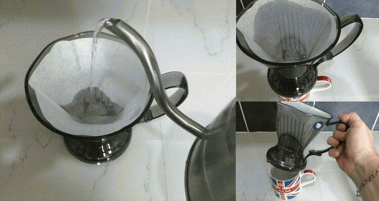 Rinsing paper coffee filter with warm water