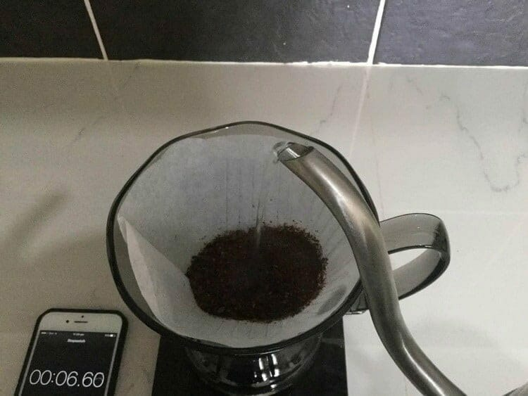 blooming coffee grounds