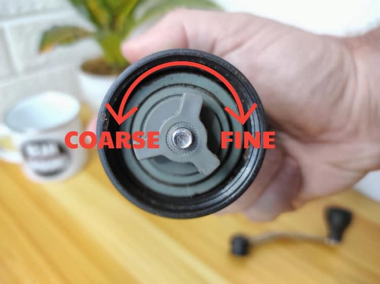 slim hario coffee mill grind setting adjustment