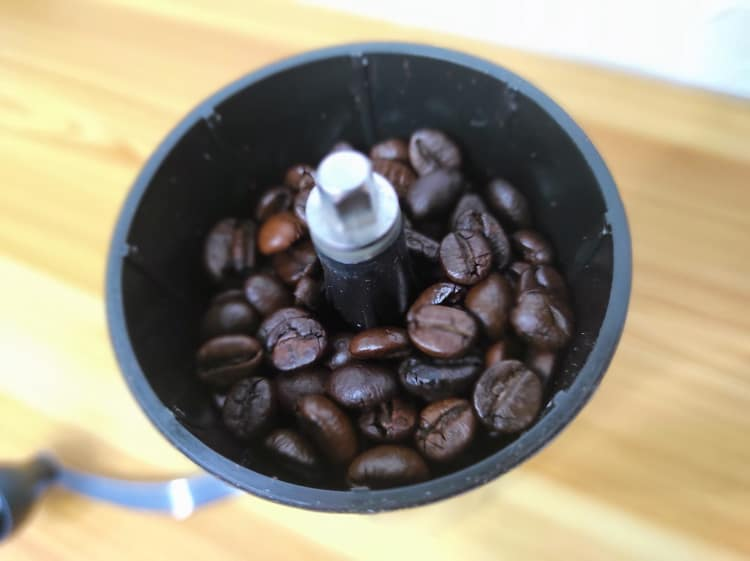 top view coffee beans in hopper