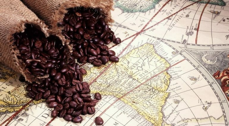 coffee blended on a map