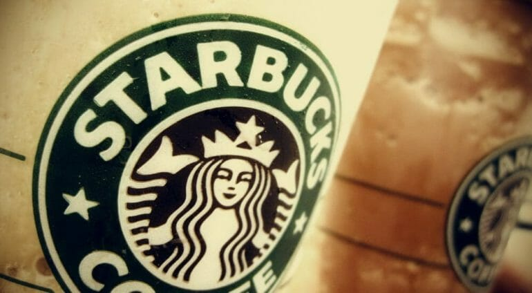 Starbucks strong logo on cup