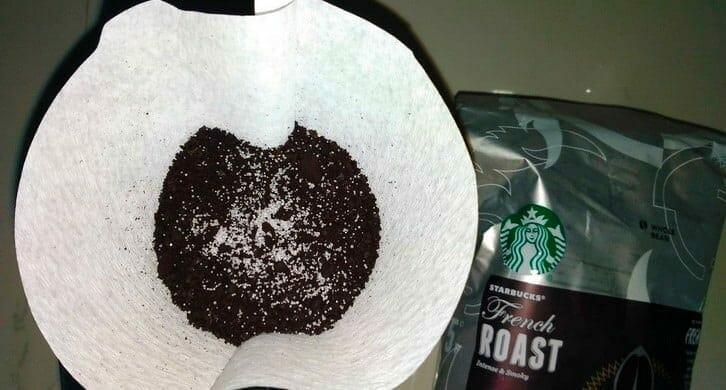 Salt sprinkled over coffee